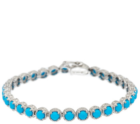 "Sleeping Beauty Turquoise 8"" Sterling Silver Diamond Cut Tennis Bracelet"