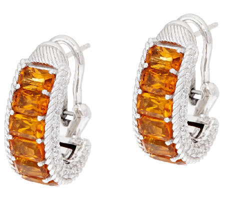Judith Ripka Sterling Gemstone Baguette Hoop Earrings