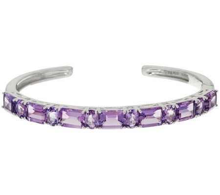 """As Is"" Multi- Cut Amethyst Sterling Silver Hinged Cuff, 10.50 ct tw"