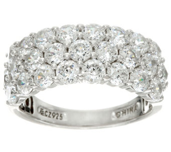 Diamonique 100-Facet Three Row Band Ring, Platinum Clad - J329178