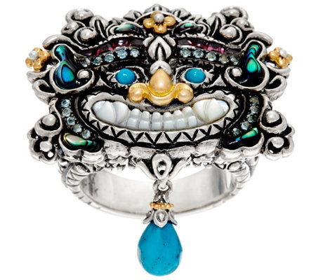 Barbara Bixby Sterling & 18K 0.30 cttw Tibetan Mask Ring