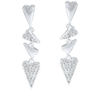 Franco P Sterling Hearts 0.70 cttw White Topaz Drop Earrings - J330478