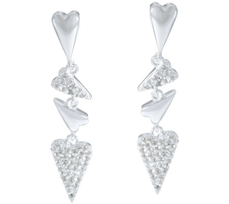 Franco P Sterling Hearts 0.70 cttw White Topaz Drop Earrings