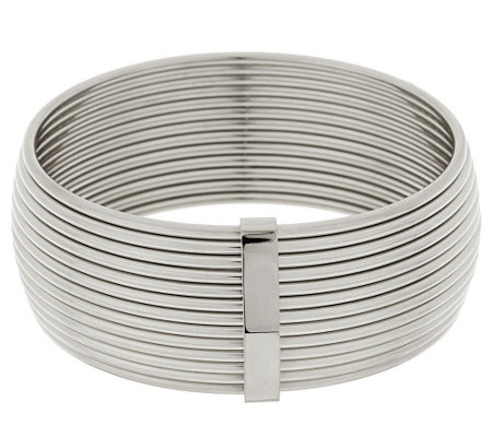 """As Is"" Stainless Steel Polished Bold Ribbed Bangle"