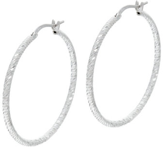 """As Is"" Vicenza Silver Sterling 1-1/4"" Diamond Cut Hoop Earrings - J331978"