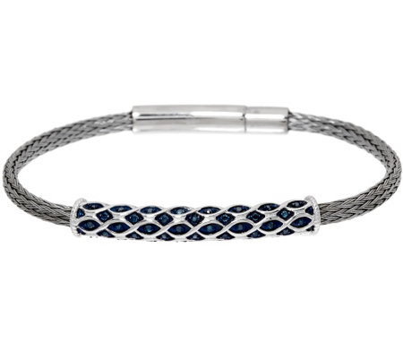 """As Is"" Blue Diamond Woven Bracelet, Sterling, 1/5ct tw by Affinity"
