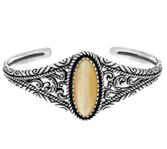 """As Is"" American West Sterling Oval Mother-of-Pearl Graudated Cuff - J333478"