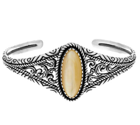 """As Is"" American West Sterling Oval Mother-of-Pearl Graudated Cuff"