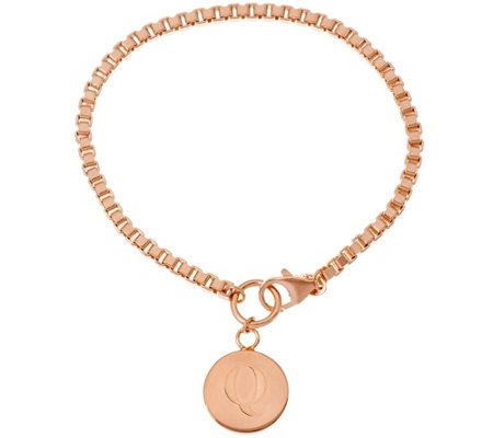 Rose Bronze Polished Initial Disc Bracelet by Bronzo Italia
