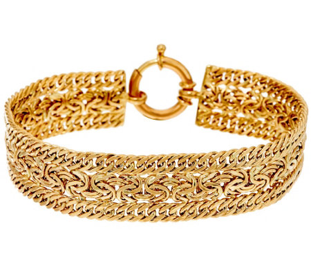 """As Is"" 14K 6-3/4"" Curb & Byzaninte Woven Bracelet, 8.4g"