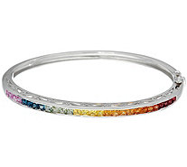Princess Cut Colors of Sapphire Sterling Bangle 3.00 cttw - J335578