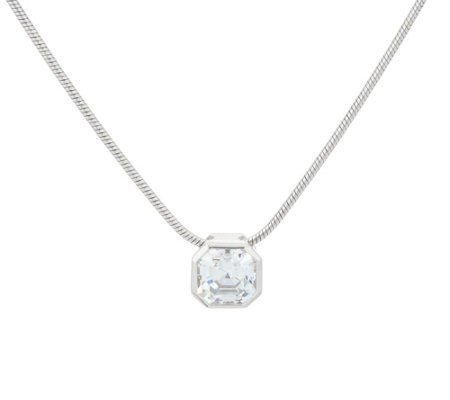 Diamonique Asscher Pendant w/ Adjustable Chain, Sterling