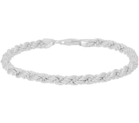 Sterling Silver Twisted Rope & Bead Bracelet by Silver Style, 5.2g