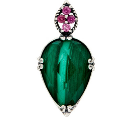 Carolyn Pollack Sterling Malachite Doublet Turtle Enhancer
