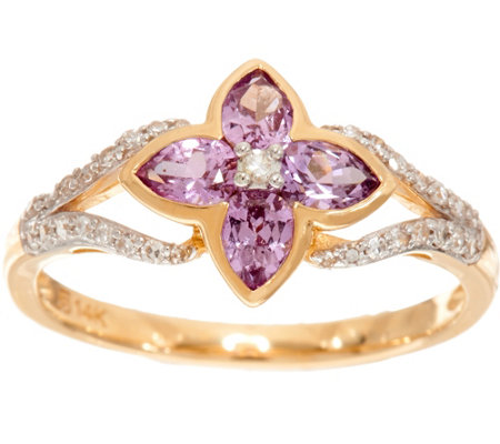 """As Is"" Purple Sapphire & Diamond Floral Ring 14K Gold, 0.50 cttw"