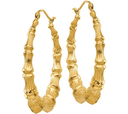 14K Bamboo Hoop Earrings