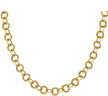 "14K Polished and Textured Round Link 17-3/4"" Necklace, 8.3g"