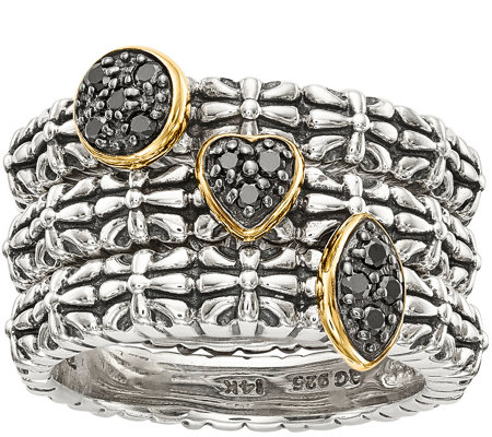 Sterling & 14K Diamond Accent Set of 3 StackRings