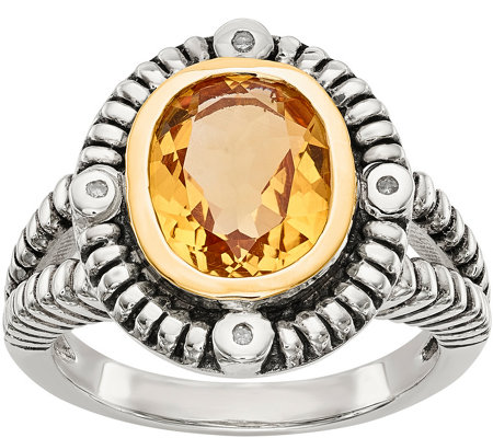 Sterling Silver & 14K Yellow Gold Gemstone andDiamond Ring