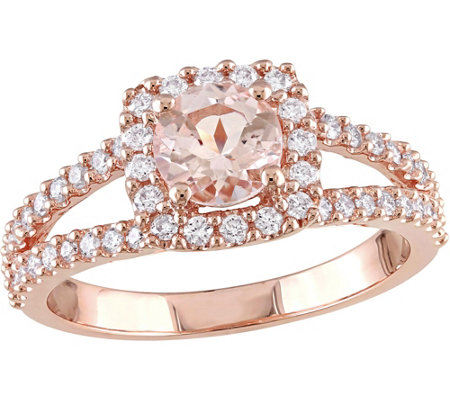 14K Gold 0.85 ct Morganite and 1/2 ct Diamond Halo Ring