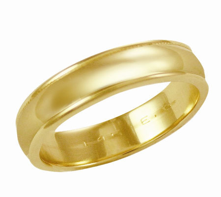 EternaGold 5mm Yellow Gold Silk Fit Wedding Band Ring, 14K