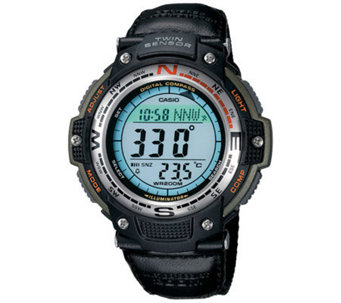 Casio Men's Digital Compass Twin Sensor Nylon Band Watch - J106979