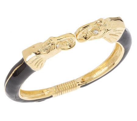 Kenneth Jay Lane's_Powerful Elephant Bangle Bracelet