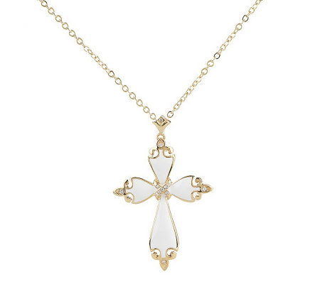 Priscilla Presley Enamel &Crystal Cross Pendant with Chain