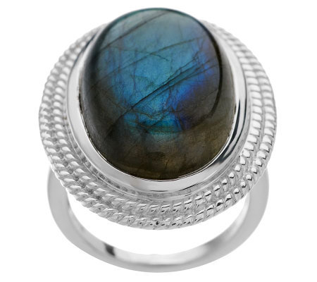 Bold Oval Labradorite Sterling Ring