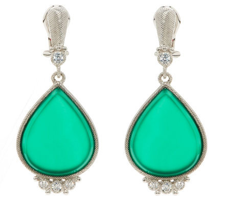 Judith Ripka Sterling Green Chalcedony and Diamonique Drop Earrings