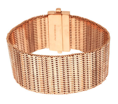 Bronze Large Bold Diamond Cut Wide Riccio Bracelet by Bronzo Italia
