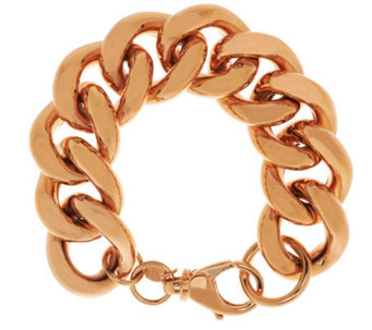 "Bronze 7-1/4"" Bold Polished Curb Link Bracelet by Bronzo Italia - J285179"
