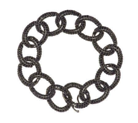 "Vicenza Silver Sterling 7-1/4"" 16.50 ct tw Black Spinel Curb Bracelet"