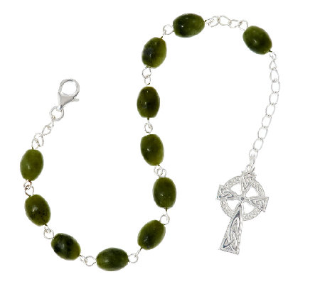 Artisan Crafted Sterling Connemara Marble Bead Rosary Bracelet