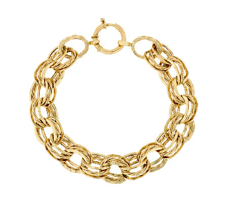 """As Is"" 14K Gold 7-1/4"" Textured & Polished Link Bracelet, 7.0g"