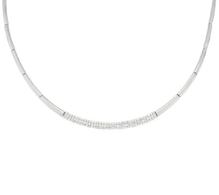 Diamonique Pave' Station Necklace, Sterling