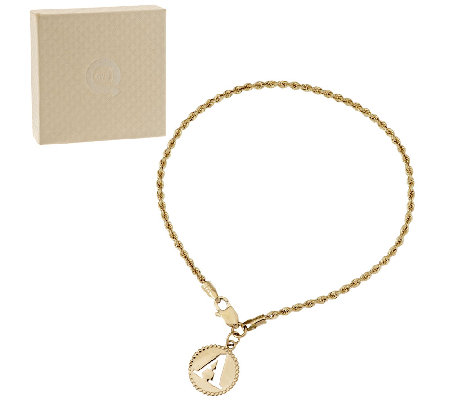 "14K Yellow Gold 6-3/4"" Initial Charm Woven Rope Bracelet"