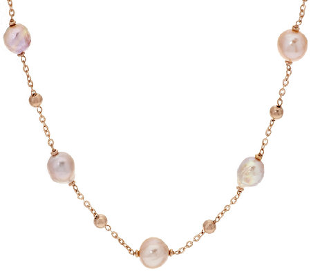 "Honora Ming Cultured Pearl 18"" or20"" Stationed Bronze Necklace"
