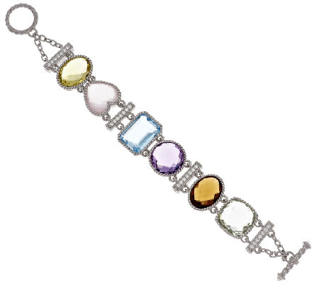 "Judith Ripka Sterling 62.00 ct tw Multi-gemstone 7-1/4"" Bracelet"