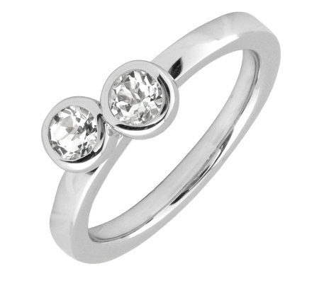 Simply Stacks Sterling & White Topaz Double Circle Ring