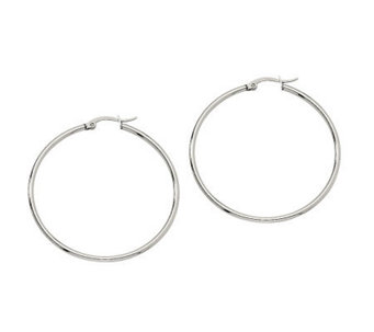 "Stainless Steel 1-3/4"" Hoop Earrings - J302179"