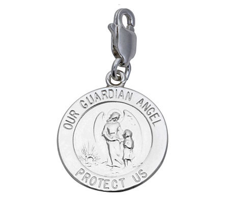 Sterling Silver Our Guardian Angel Medal Charm