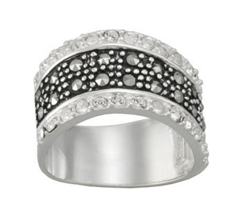 Suspicion Sterling Marcasite & Crystal Wavy Band Ring - J304479
