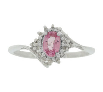 Sterling Pink Sapphire and Diamond Accent Ring - J304779