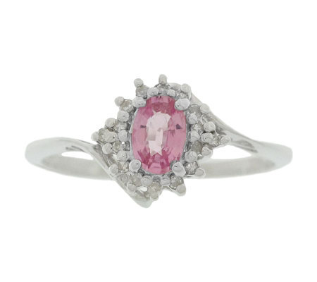 Sterling Pink Sapphire and Diamond Accent Ring