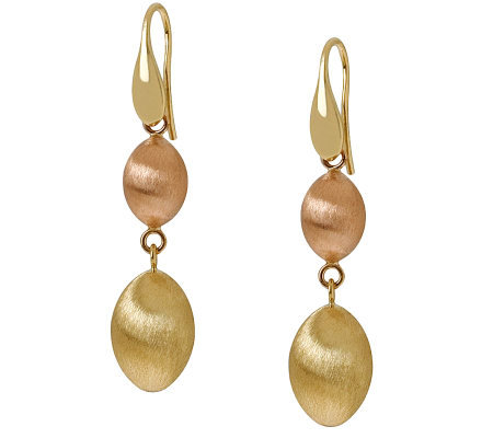 Arte d'Oro Two-tone Satin Bead Dangle Earrings,18K Gold