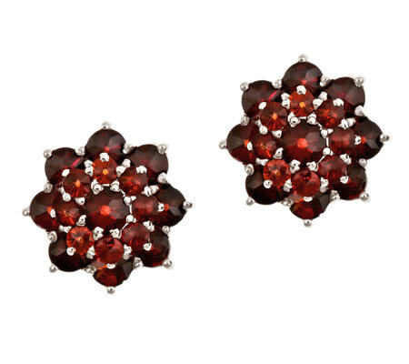 2.80 ct tw Garnet Cluster Earrings, Sterling