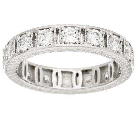 Diamonique 100-Facet Fancy Eternity Band Ring, Platinum Clad