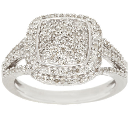 Pave' Cushion Design Diamond Ring, Sterling, 1/2 cttw, by Affinity