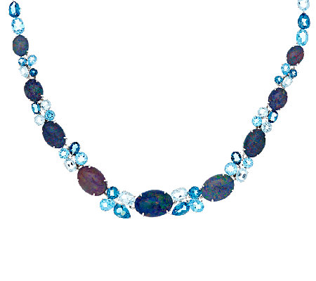 Australian Opal Triplet & Blue Topaz Sterling Necklace 44.00 ct tw